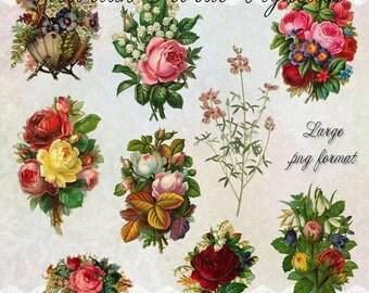 Victorian Floral Vignettes - Digital Scrapbooking Clipart Graphics
