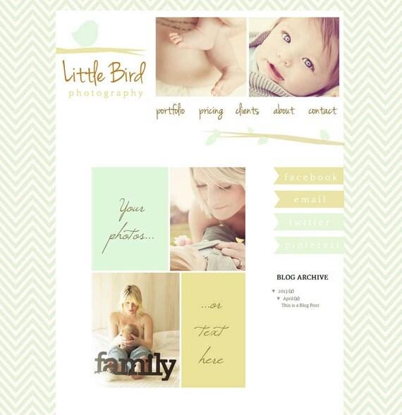 Premade Blogger Website Template - Little Bird Brown and Blue Design