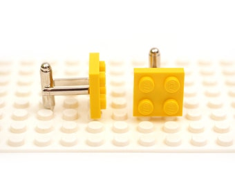 Yellow colour cufflinks. Cufflinks made with LEGO(R) bricks.    Cuff links Cufflink Wedding gift