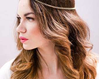 GOLD or SILVER headdress. headpiece, head chain, jewelry, EDC, Coachella, music festival