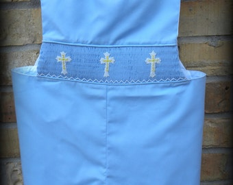 Smocked Jon Jon Cross shortall in blue