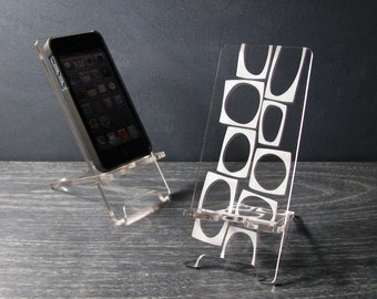 Mid Century Modern Abstract Acrylic Desk Accessories 5 Sizes - iPhone 6, 6 Plus, iPhone 5, iPhone 4, Universal - Phone Stand Docking Station