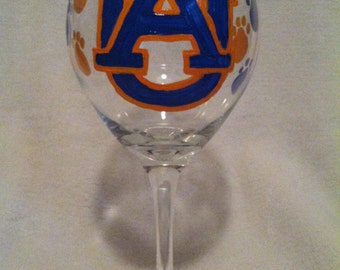 Auburn University Wine Glass, Hand Painted