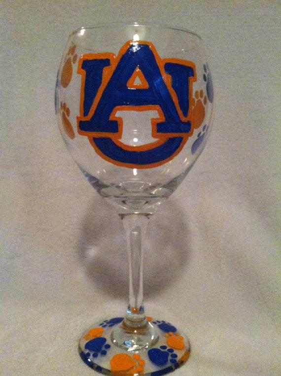 Items similar to Auburn University Wine Glass, Hand Painted on Etsy