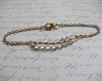Crystal bar bracelet with gold chain