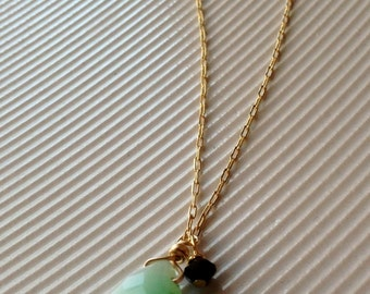 Crysoprase Beaded Drop Pendent Necklace