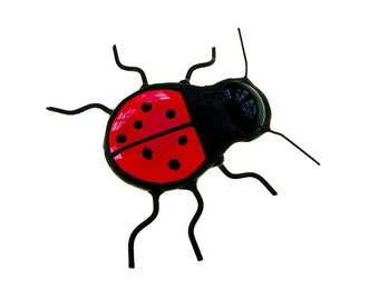 BIG stained glass ladybird bug beetle home decor red black colour