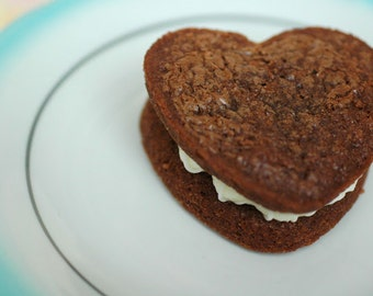 Heart Shaped Peanut Butter Brownie Whoopie Pies (12) Edible Gift, Valentines Gift, Edible Favor