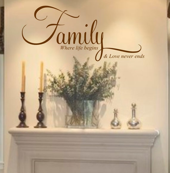 Etsy Family Wall Decor : Family wall quote art vinyl decal by