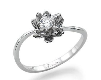 flower engagement ring 14k white gold ring conflict free diamond diamond ring - Flower Wedding Rings