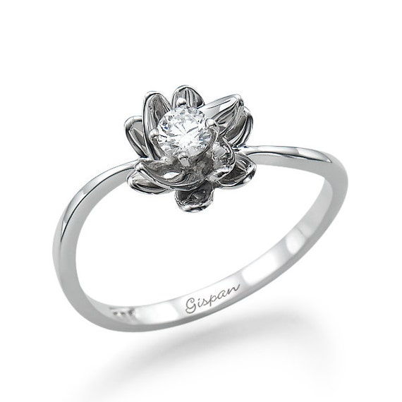 flower engagement ring 14k white gold ring conflict free