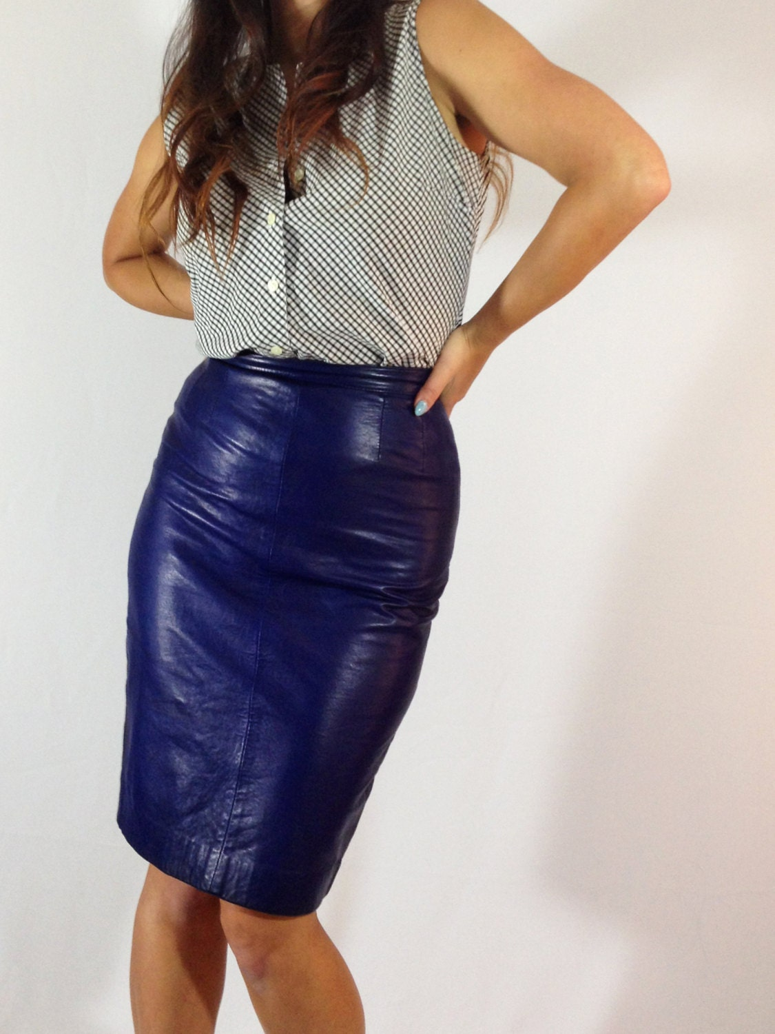 80 s blue leather pencil skirt