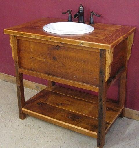 Barnwood vanity vintage reclaimed wood wash stand for Reclaimed wood vanity bathroom