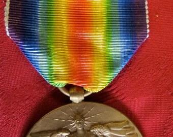Original World War I Great War For Civilization Angel Of Liberty Medal, Ribbon & Bar - Free Shipping