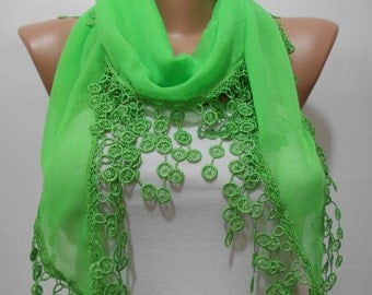 Cotton Scarf with Lace Edge Neon Green Scarf Trending Items Spring Summer Women Fashion Accessories Irish St Patricks Day Scarf Gift For Her