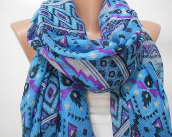 Boho Tribal Scarf Oversize Scarf Blue Scarf Shawl Beach Sarong Southwestern Cowl Scarf Christmas Gift For Her Winter Women Fashion Accessory