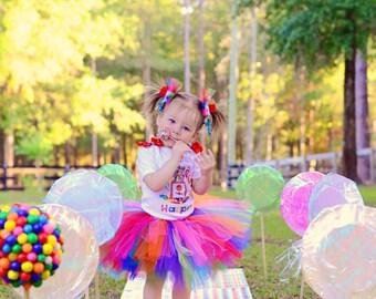 Candy Land tutu set Candyland tutu set-Rainbow tutu set-Birthday Party Tutu Set