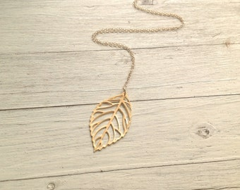 Gold necklace, gold leaf necklace, delicate necklace, simple necklace, everyday gold necklace, mothers day