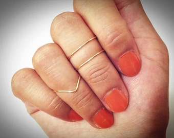 Knuckle rings: 2 mid ring & 1 chevron ring. Gold Knuckle Ring, Silver Knuckle Ring,  small gift, dainty ring, thin ring