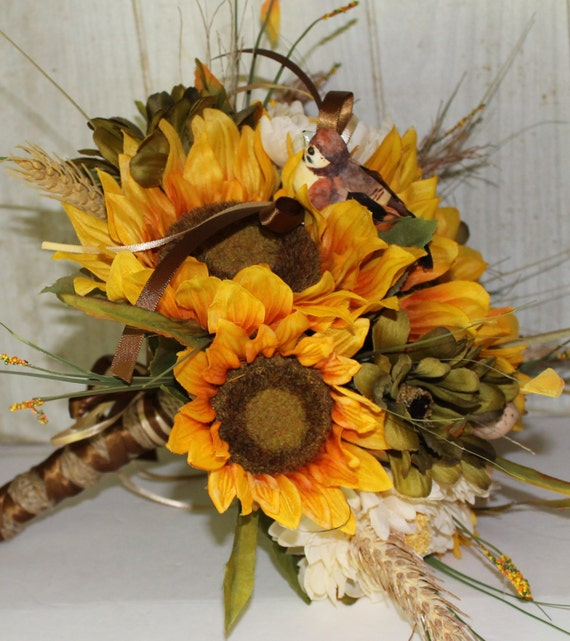 Wedding Bouquet Rustic Chic Sunflowers By ForeverDenimandLace