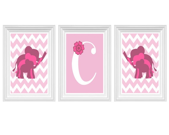 Pink Elephant Nursery Art Safari Zoo Pink Wall Art Letter Home