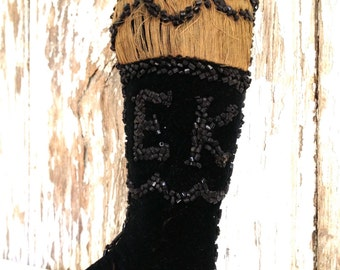 antique beaded whimsy, antique Victorian velvet beaded boot, antique initials EK