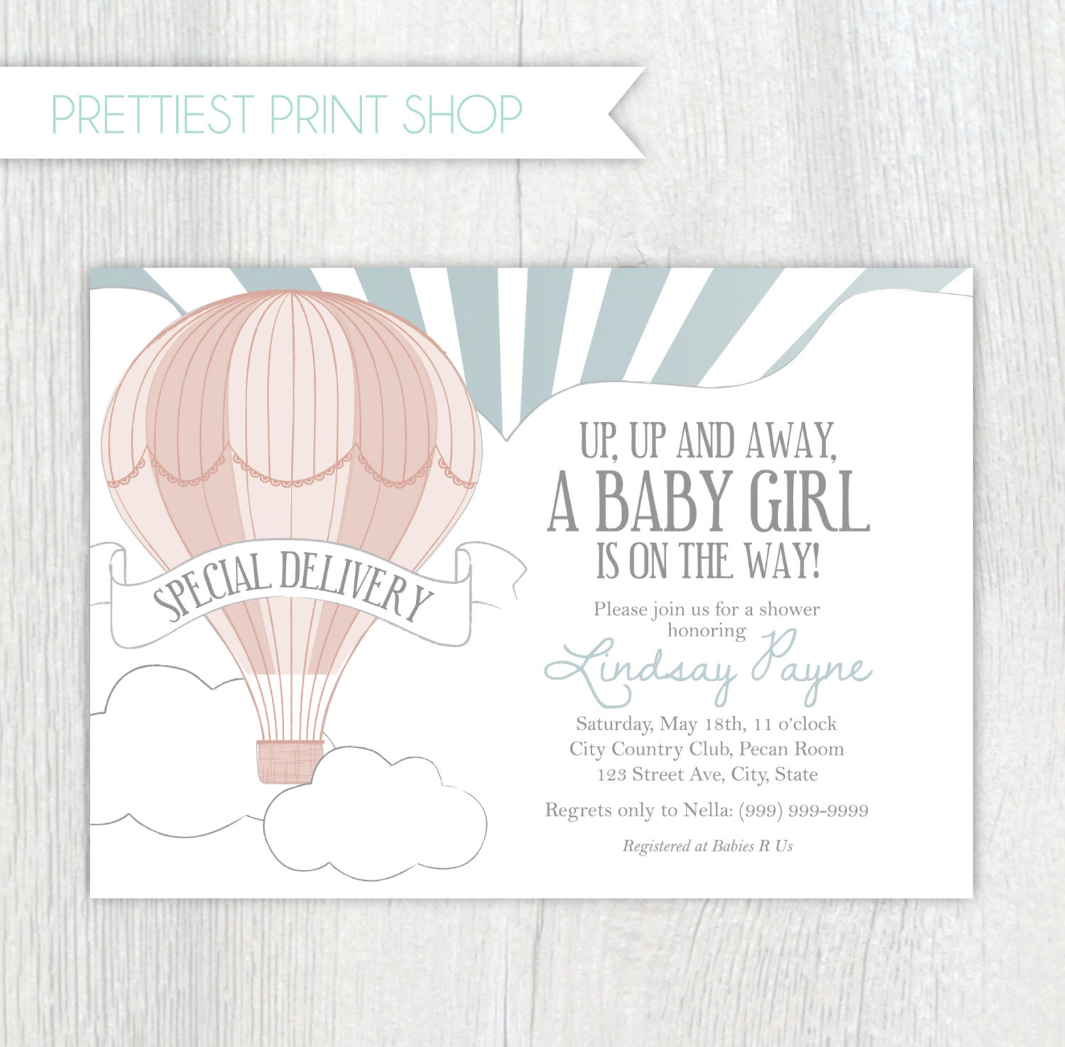 Printable invitation Hot air balloon invitation style 2