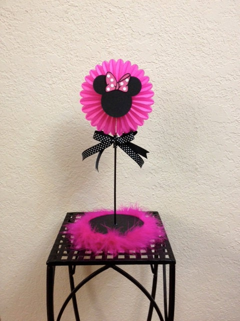 Pink Boa Centerpiece : Minnie mouse birthday centerpiece pink boa baby shower