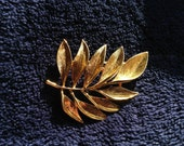 Vintage Gold Tone Monet Leaf Brooch