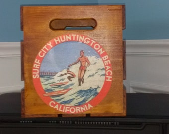 Distressed Wood Surf Crate Vintage Surfing Decor