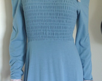 Vintage 60s Jody T of California Maxi Dress Blue Jersey Mod Hippie Small