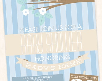 Birds & Nest Baby Shower Invitation