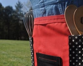 Bright Red White and Black Half Length Apron with Three Front Pockets