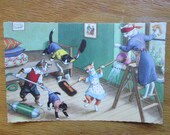 Vintage Alfred Mainzer Dressed Cats Postcard, Cats Cleaning House, Naughty Kittens, 4857