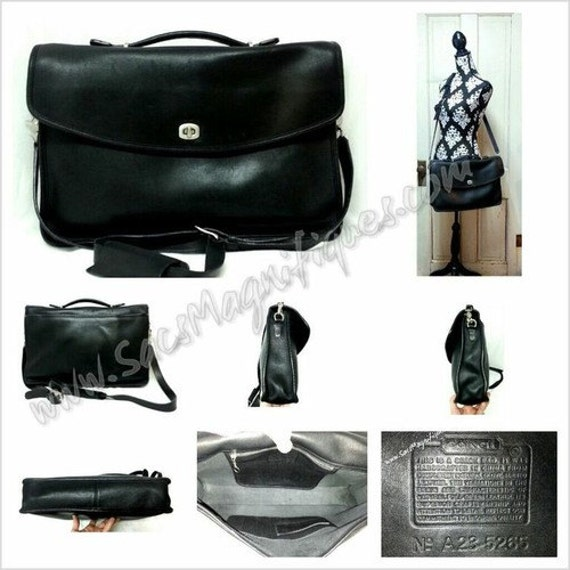 Authentic Vintage Coach Lexington Briefcase Black with RARE Nickel Hardware, EUC, 5265