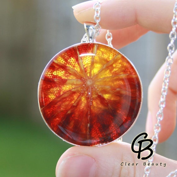 Extra Large Pendant Blood Orange Fruit - Round 38mm BO4