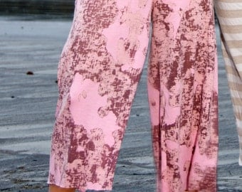 PINK BROWN BURNOUT tie dye palazzo wide leg  gaucho yoga lounge resort beach summer (calf length) capri pants with drawstring