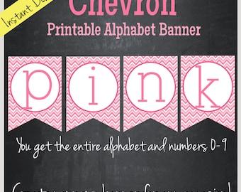 Pink Chevron Printable Alphabet Banner - Instant Download
