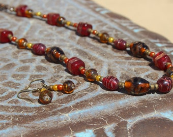 Golden Red 20in Necklace and Earrings Set- Red & Brown Marble/Stone