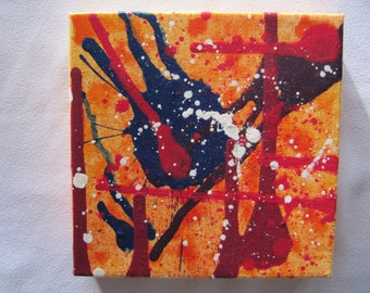 Original abstract painting, acrylic on canvas, 6'' x 6''
