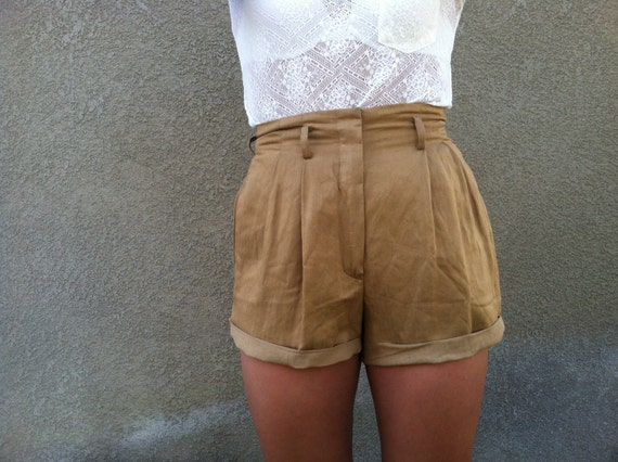 Brown Linen High Waist Shorts