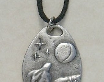 Moon Gazing Hare Pewter Pendant Pagan Wiccan Wicca