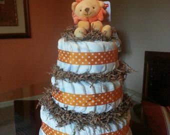 Lion Themed Diaper Cake