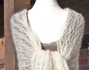 Bridal shawl, wedding shawl, bridal wrap, knitted shawl, knitted scarf, mohair, silk, ivory, white, creamwhite