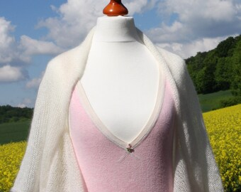 Bridal Bolero, sleeves stole, shrug, stole, kid-mohair / silk, creamwhite, ivory, 1/2 arm