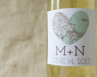 """Square Map of Our Hearts-Personalized Wine Labels (3"""") Free Shipping"""