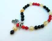 PROTECTION bracelet with obsidian, citrine and red jasper beads
