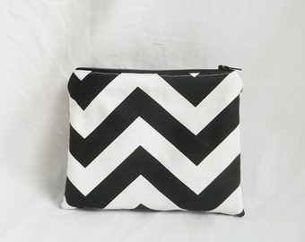 Embroidered Makeup bag - Personalized Chevron Pouch - Bridesmaid clutches - Cosmetic Bag - Small