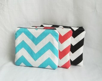 Cosmetic Bag - Set of 3 - Monogram Makeup bag - Personalized Chevron Pouch - Bridesmaid clutches - Small