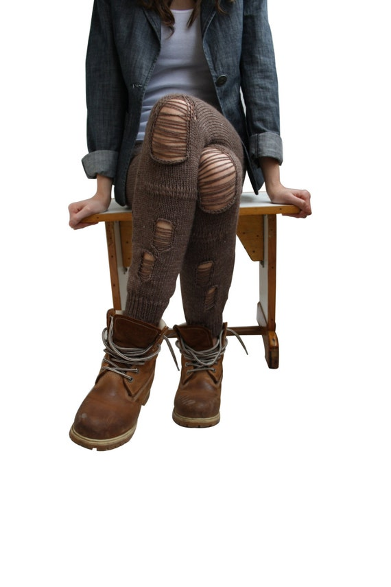 Free Shipping  Brown Knitted Stretch Tight  Pants Ripped Leggings Legwarmer